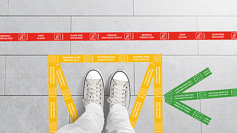 Smart Distancing Tape for floor markings