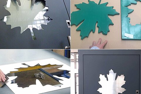Maple leaf cut-out of a door